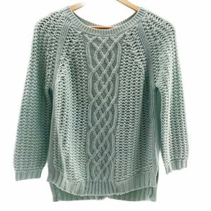 Zara Mint Green Cable Knit Button Back Sweater | S